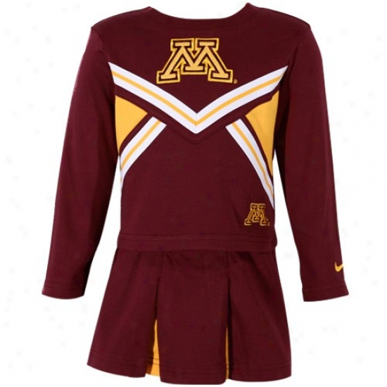 Nike Minnesota Golden Gophers Toddler Girls Maroon Long Sleeve Top & Skirt Cheerleadrr Outfit