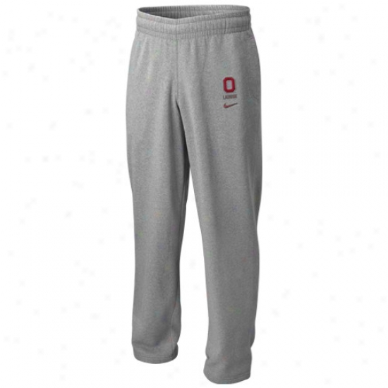 Nike Ohio National Buckeyes Ash Lacrosse Strip Pants