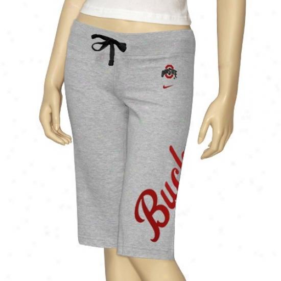 Nike Ohio National Buckeyes Ladies Ash Fleece Shorts