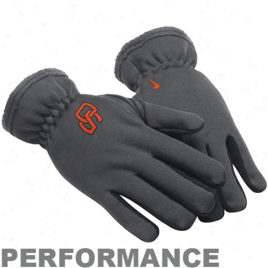 Nike Oregon State Beavers Charcoal Therma-fit Performance Gloves