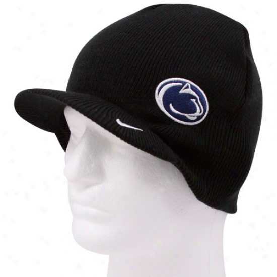 Nike Penn State Nittany Lions Youth Blacj Team Basics Brim Knit Beanie