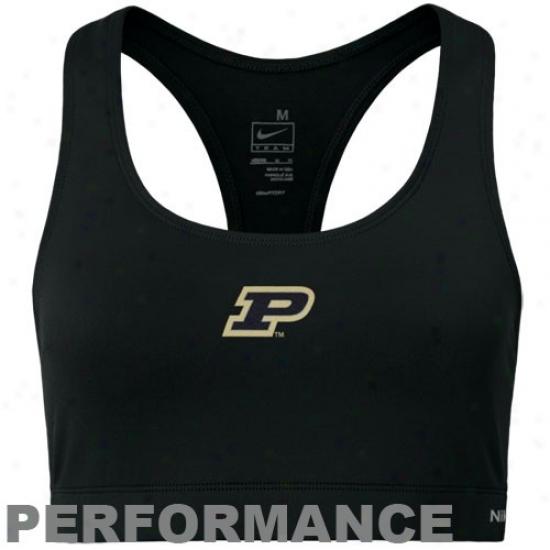 Nkke Purdue Boilermakers Ladies Black Performance Sports Bra