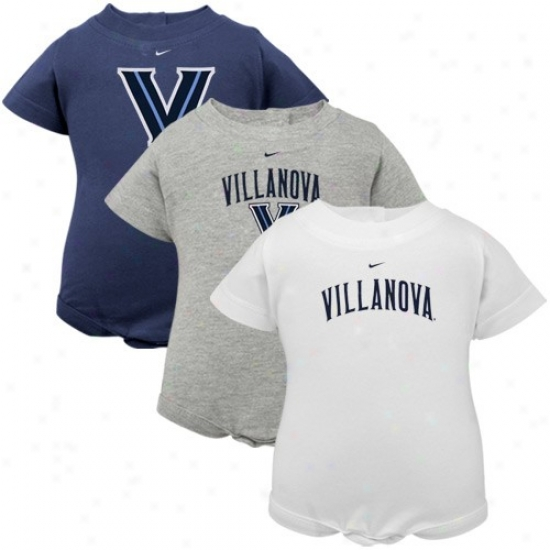 Nike Villanova Wildcats Infant Navy Blue, White & Ash 3-pack Creeper Set
