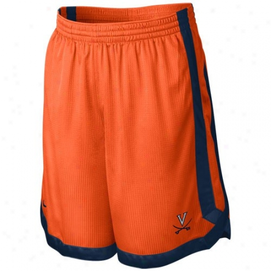 Nike Virgihia Cavaliers Orange-navy Blue D-up Mesh Shorts