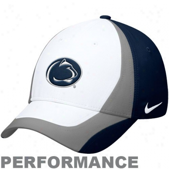 Nittany Lion Hat : Nike Nittany Lion Navy Blue-silver Legacy 91 Players Performance Swoosh Flex Hat