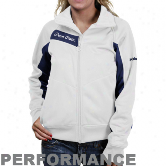 Nittany Lions Jacket : Columbia Nittany Lions Ladies White-navy Blue Velocity Trackster Performance Full Zip Jacket