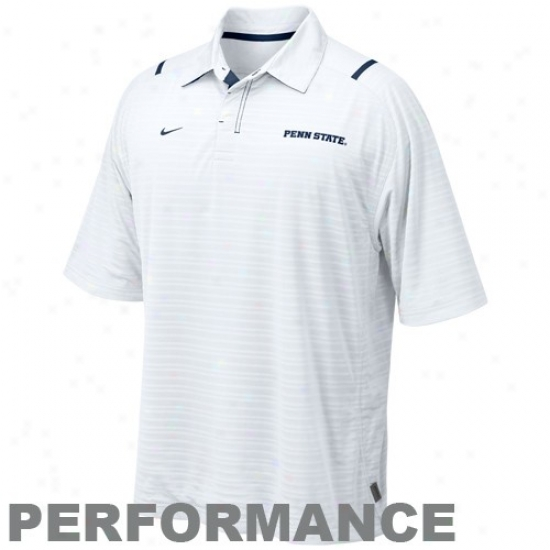Nittany Lions Polos : Nike Nittany Lions White Conference Corner Performance Polos