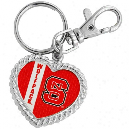 North Carolina State Wolfpack Silvertone Heart Keychain