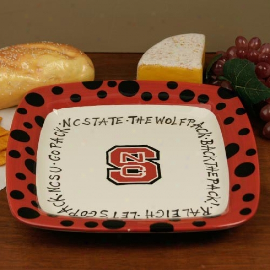 North Carolina State Wolfpack Square Plate With Polka Dot Trim