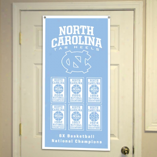 """north Carolina Tar Heels (uunc) 2009 Ncaa Men's Basketball National Champions Carolina Dismal 18"""" X 36"""" 6-time Champs Vertical Banner"""