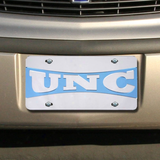 North Carolina Tar Heels (unc) Bow Unite Silver Mirrored Permit Plate