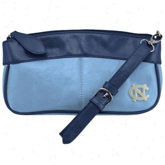 North Carolina Sailor Heels (unc) Carolina Blue-navy Blue Quarterback Clutch Purse