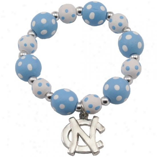 North Carolina Sailor Heels (unc) Carolina Blue-white Polka Dot Beaded Bracelet