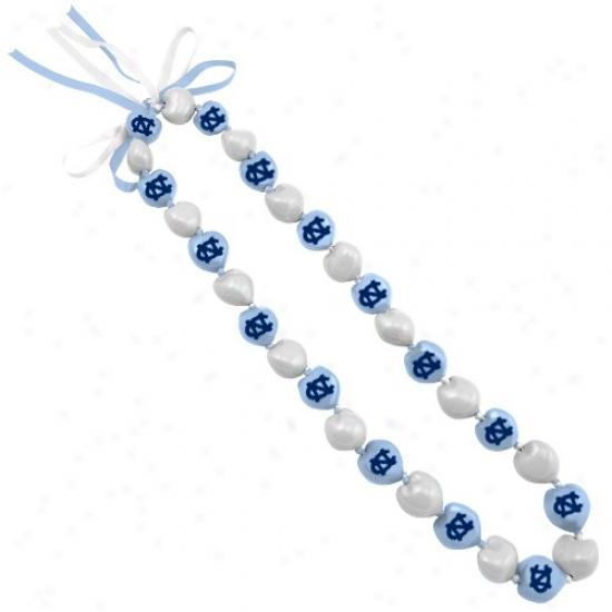 Northerly Carolina Tar Heels (unc) Ladies Carolina Blue-white Kukui Lei Necklace
