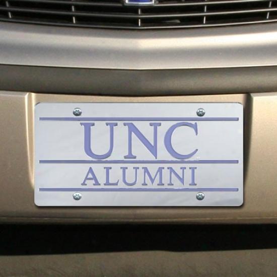 North Carolina Tar Heels (unc) Silver Mirrored Alumni License Plate