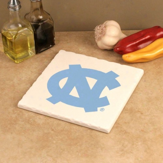 North Carolina Tar Heels (unc) White 7.5'' Square Tumbled Stone Trivet