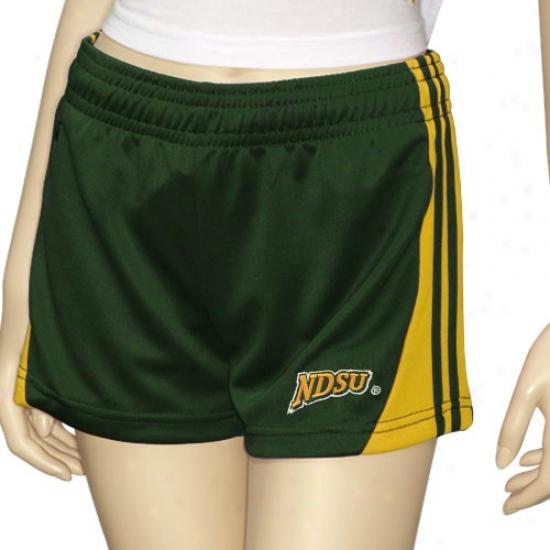 North Dakota State Bison Ladies Green Instinct Workout Shorts