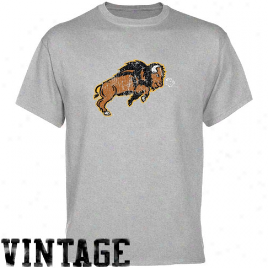 North Dakota State Bison Shirt : North Dakota State Bison Ash Distressed Logo Shirt