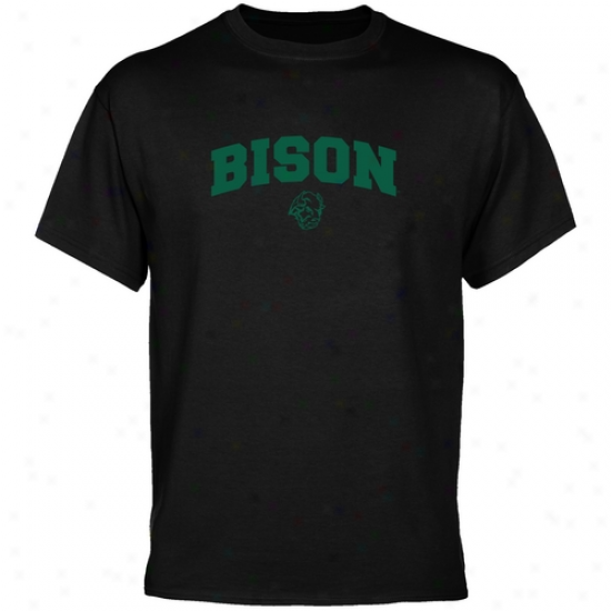 North Dakota State Bison Shirts : North Dakota Condition Bison Black Mascot Arch Shirts