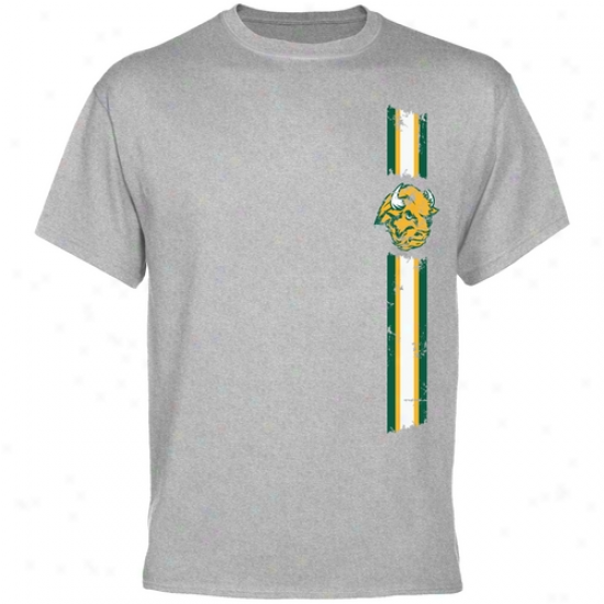 North Dakota State Bison Tshirt : North Dakota State Bison Ash Carry through  Stripe Tsnirt