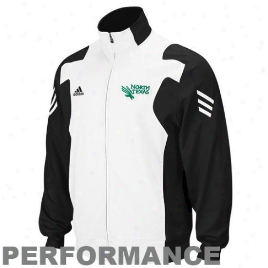 North Texas Mean Green Jerkin : Adidas North Texas Instrument Green Black-white Burn Full Zip Perf0rmance Warm-up Jacket