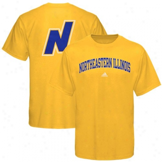 Northeastern Illinois Golden Egales Tshirt : Adidas Northeastern Illinois Golden Eagles Gold Relentless Tshirt