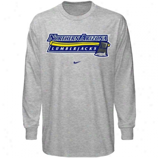 Northern Arizona Lumberjacks Tshirt : Nike Northern Arizona Lumberjacks Ash Basic Logo Long Sleeve Tshirt