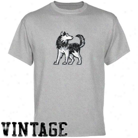 Northern Illinois Huskies Tses : North Illinois Huskies Ash Distressed Logo Vintage Tees