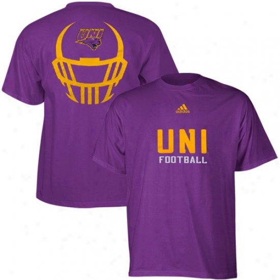 Northern Iowa Panthers Tees : Adidas Northern Iowa Panthers Purple Helmet Mask Basic Tees