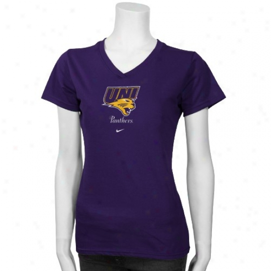 Northern Iowa Panthers Tshirt : Nike North Iowa Panthers Purple Ladies Team Logo Tshirt