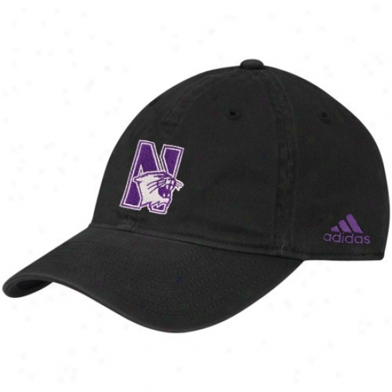 Northwestern Wildcats Caps : Adidas Northwestern Wildcats Black Slope Flex Fit Caps