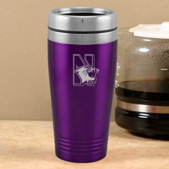 Northwestern Wildcats Purple 16 Oz. Team Logo Thermo Travel Tumbler