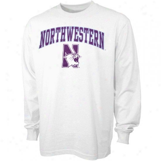 Northwestern Wildcats Shirt : Northwestern Wildcats White Bare Essentials Long Sleeve Shirt