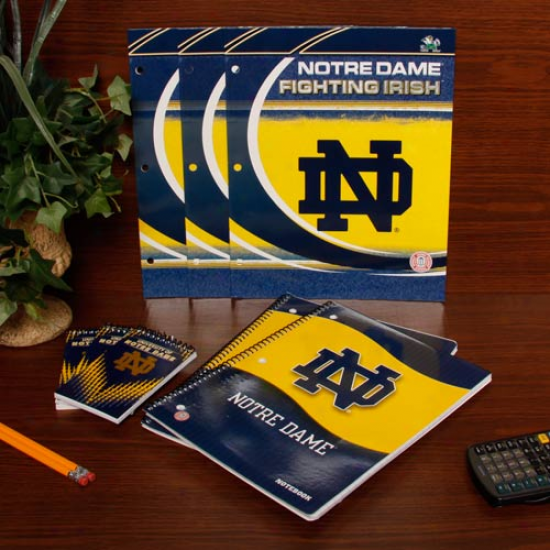 Notre Dame Fighting Irish Folder, Notebook & Memo Pad School Combo Pack