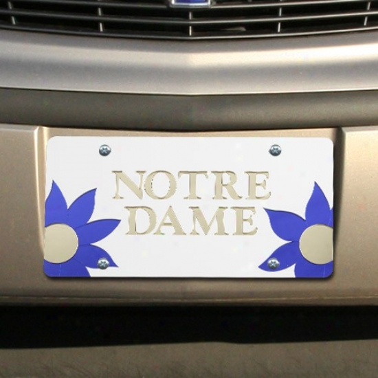 Notre Dame Fighting Irisu Silver Mirrored Flower Power License Plate