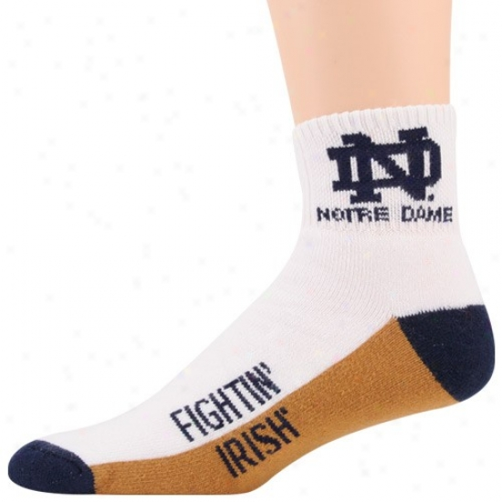 Notre Dame Fighting Irish Tri-color Team Logo Quarter Length Socks