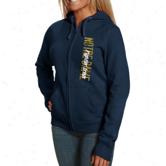 Nktre Dame Irish Hoodies : Champion N0tre Dame Irish Ladies Navy Blue Athletic Logo Completely Ziip Hoodies
