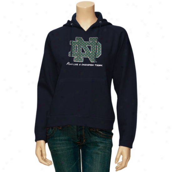 Notre Dame Sweat Shirts : Majesti Notre Dame Ladies Navy Blue Play Like A Champion Today Sweat Shirts