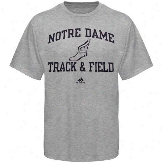 Notre Dame T Shirt : Adidas Notre Dame Ash Collegiate Track & Field T Shurt