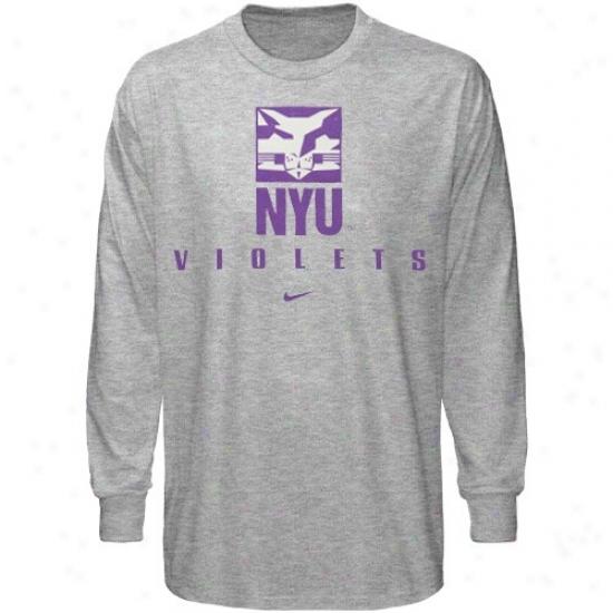 Nyu Violets T Shirt : Nike Nyu Violets Ash Basic Logo Long Sleeve T Shirt