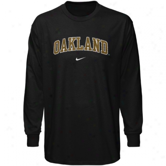 Oakland Golden Grizzlies Tee : Nike Oakland Golden Grizzlies Black Vertical Arch Long Sleeve Tee