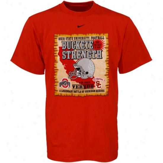Ohio St Buckeyes T Shirt : Nike Ohio St Buckeyes Vs Usc Scarlet Buckeye Strengfh Rivalry T Shirt