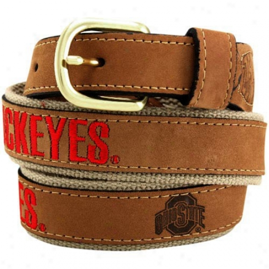 Ohio State Buckeyes Brown Leather Team Logo Belt