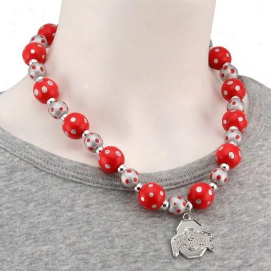 Ohio State Buckeyes Scarlet-gray Polka Dot Beaded Necklace