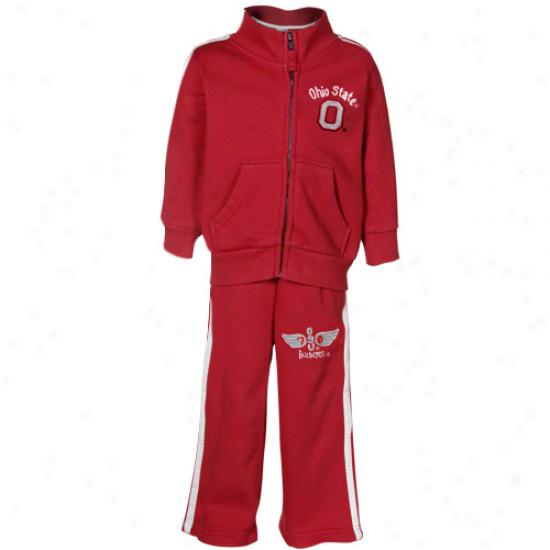 Ohio State Buckeeyes Toddler Scarlet Full Zip Warm-up Jacket & Pant Concrete