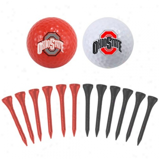 Ohio State Buckeyes Two Golf Balls And Twelve Tees Set