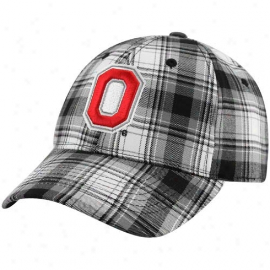 Ohio State Hat : Top Of The World Ohio State Black-white Plaid Premium 1-fit Flex Hat