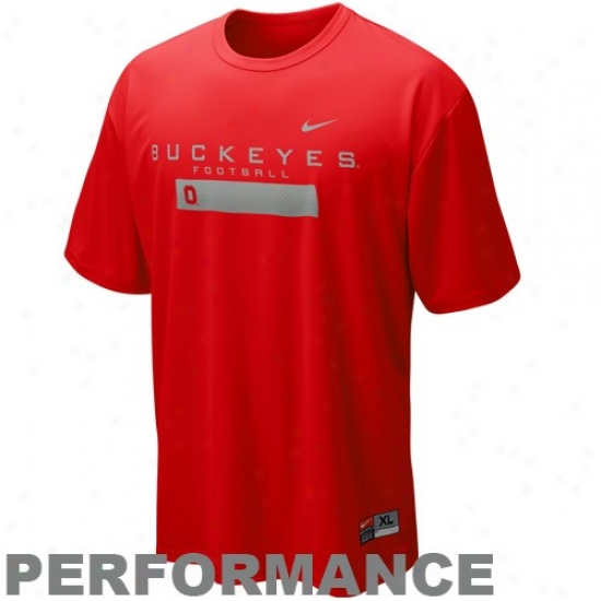 Ohio State T-shirt : Nike Ohio State Scarlet Dri-fit Weight Room Performance T-shirt