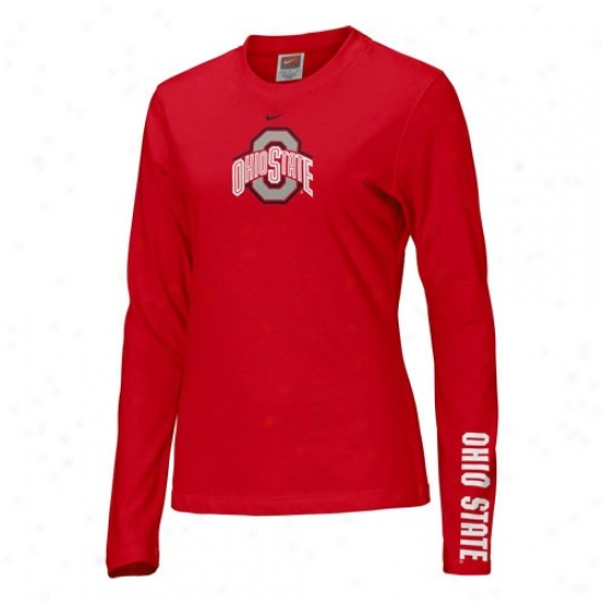 Ohio State T Shirt : Nike Ohio State Scarlet Ladies Classic Logo Long Sleeve T Shirt