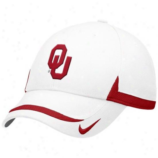 Oklahoma Gear: Nike Oklahoma White Coaches Adjustable Hat